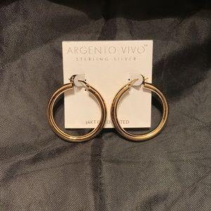 Argento Vivo Gold Colored Med Hoop Earrings NWOT